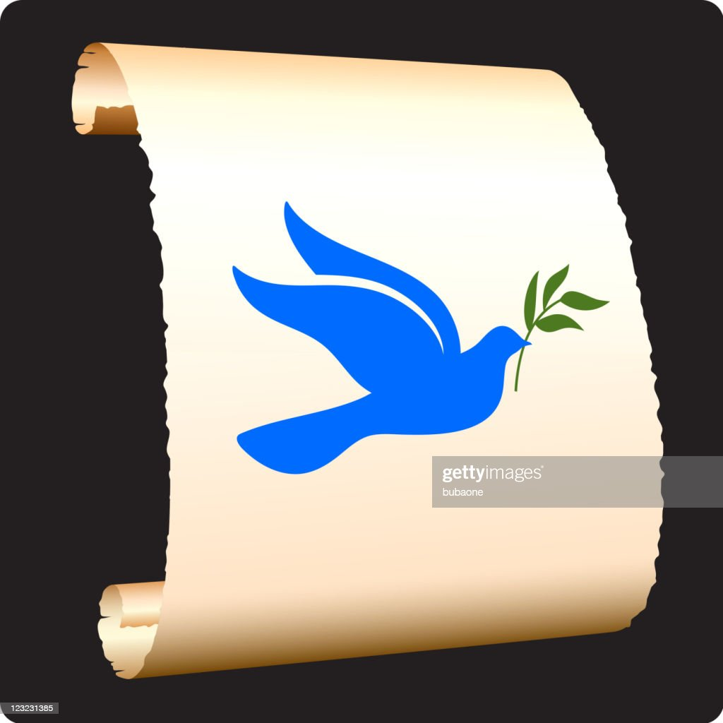 Peace Dove With Olive Branch On Paper Scroll stock