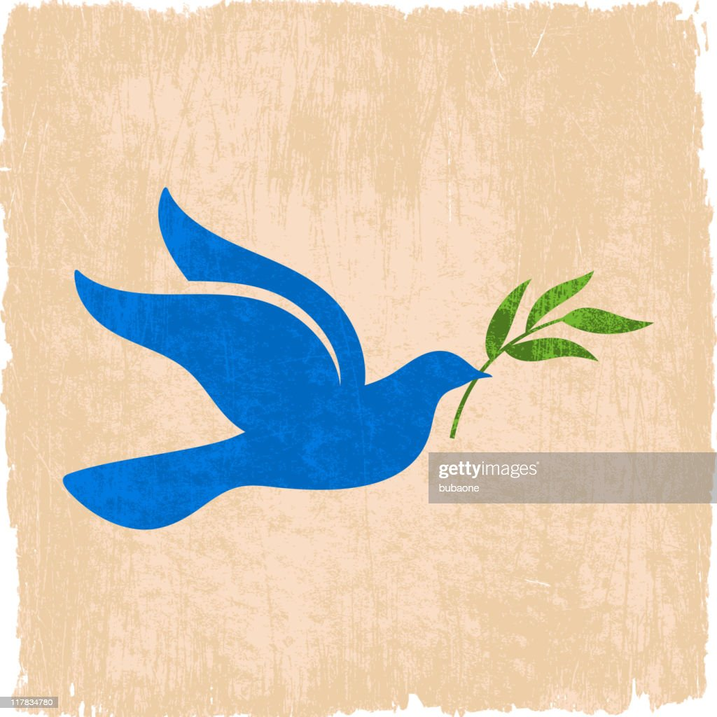 peace dove with olive branch on royalty free vector Background