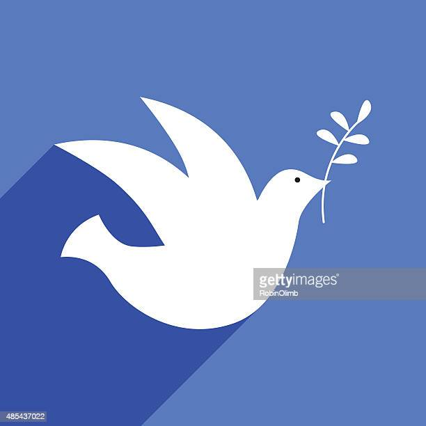peace dove with shadow - olive branch stock illustrations
