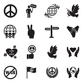 Peace Icons. Black Flat Design. Vector Illustration.