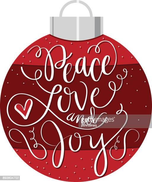 Peace, Love, and Joy on an Ornament