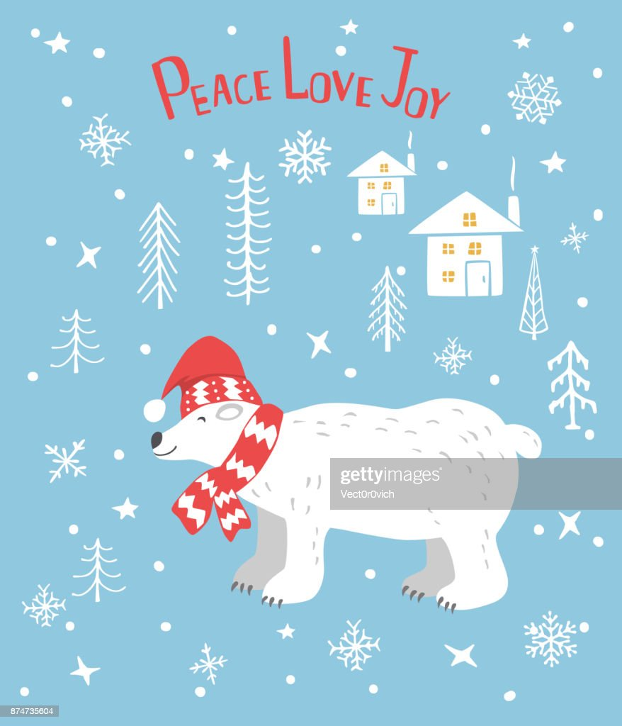 Peace Love Joy Merry Christmas Greeting Card With Cute Polar Bear