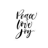 Peace, love, joy postcard.