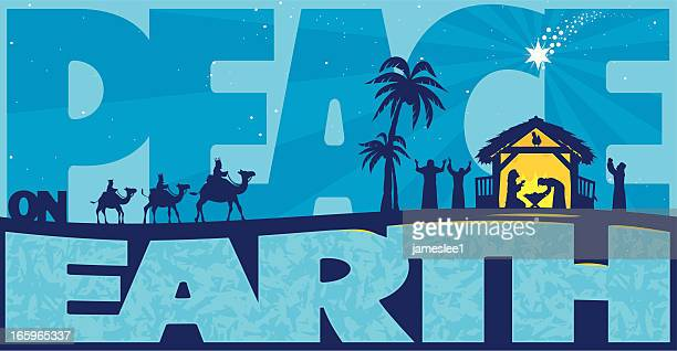 ilustraciones, imágenes clip art, dibujos animados e iconos de stock de paz en la tierra - lostresreyesmagos