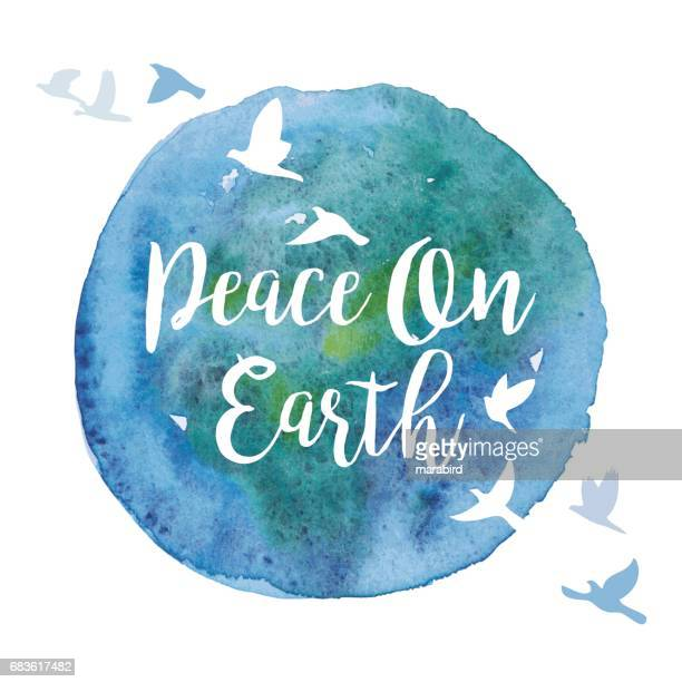 Peace On Earth Watercolor Paint Circle