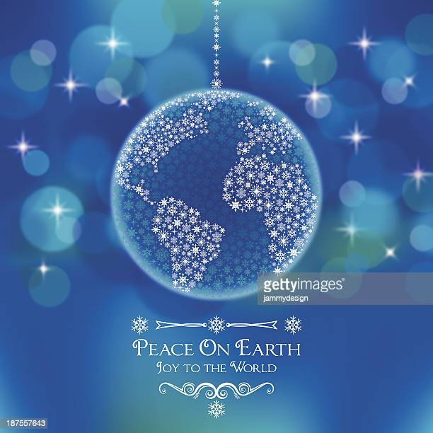 peace on earth world ornament - symbols of peace stock illustrations