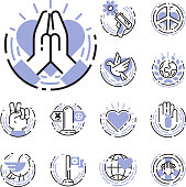 Peace outline thin line icons love world freedom international free care hope symbols vector illustration