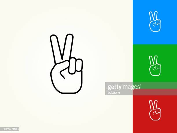 peace sign black stroke linear icon - peace sign stock illustrations, clip art, cartoons, & icons