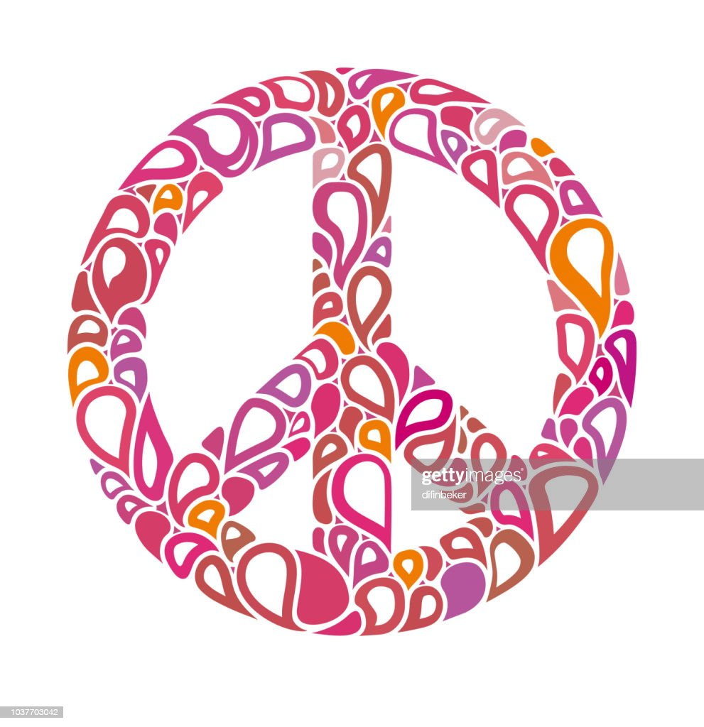 Peace sign consists of bright bubbles. International Day of Peace.