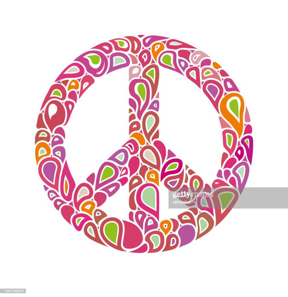 Peace sign consists of bright multicolored bubbles drops.