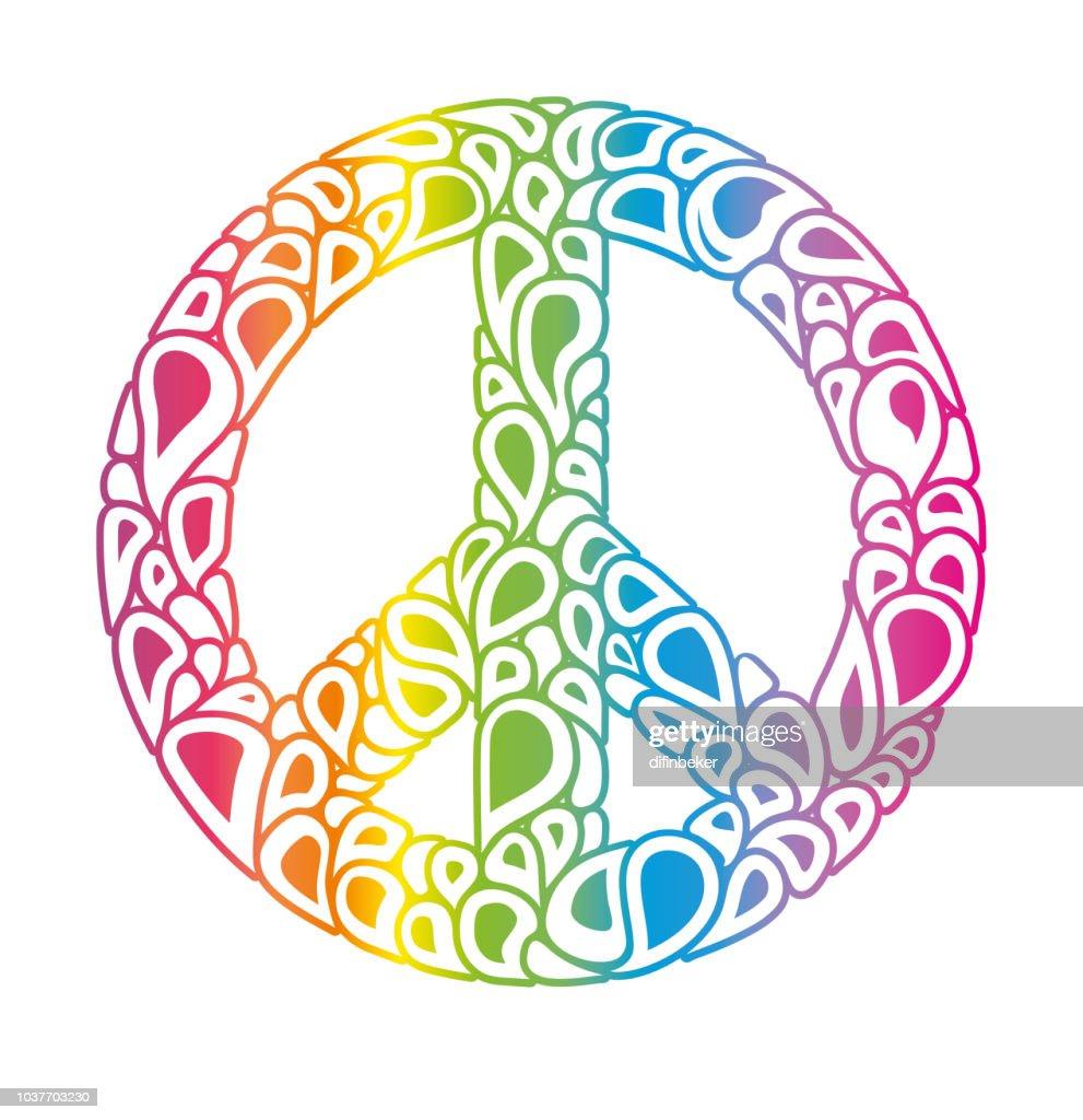 Peace sign consists of rainbow bubbles drops.