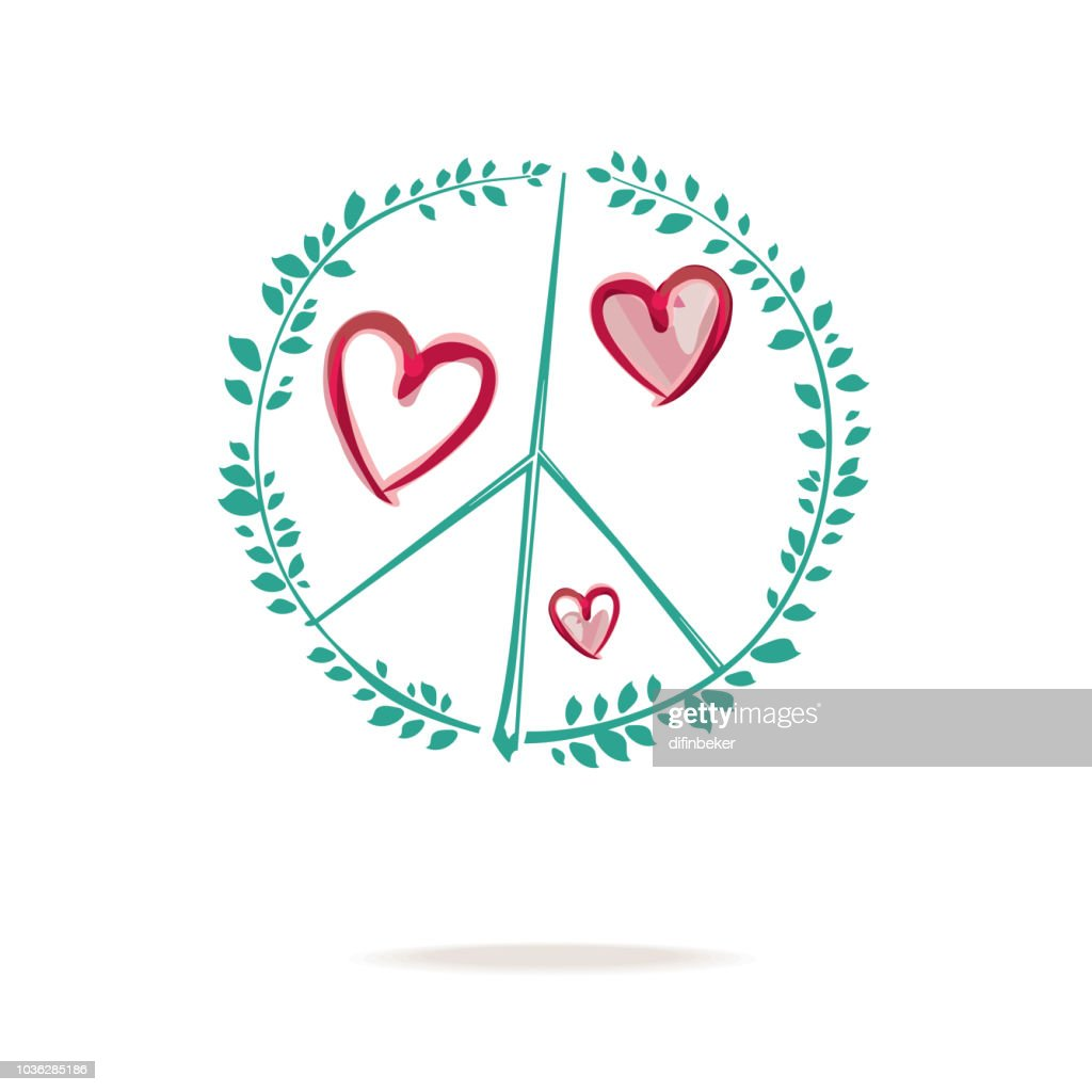 Peace sign drawing consists of sprigs with green foliage and hearts.