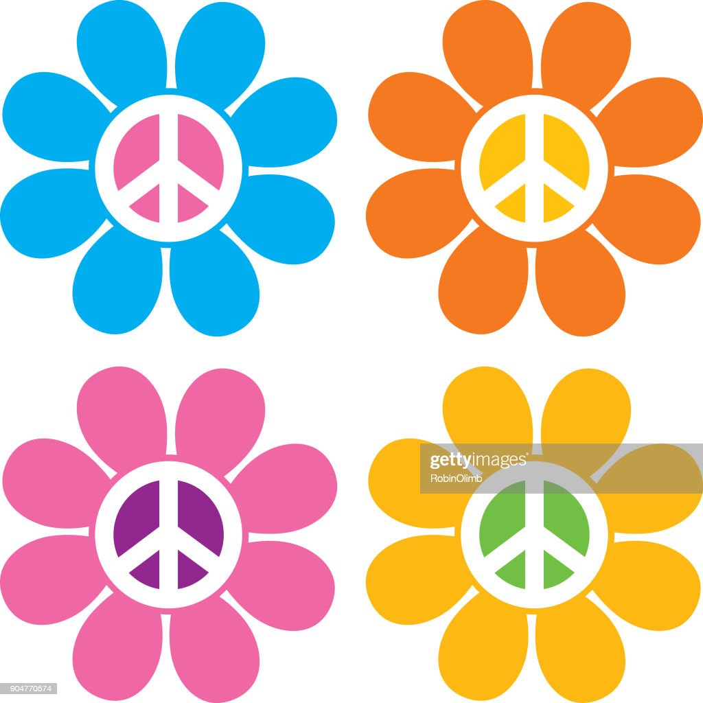 Peace Sign Flower Icons : Stock Illustration