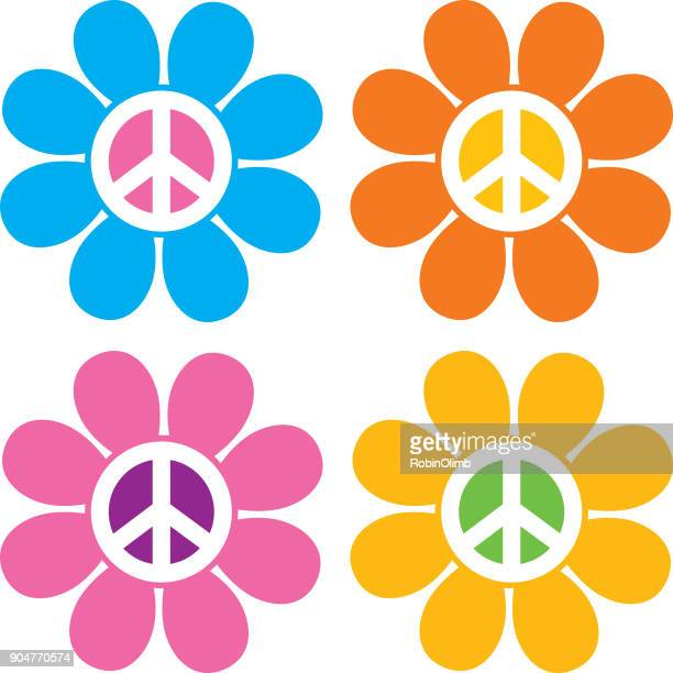 peace sign flower icons - peace sign stock illustrations, clip art, cartoons, & icons