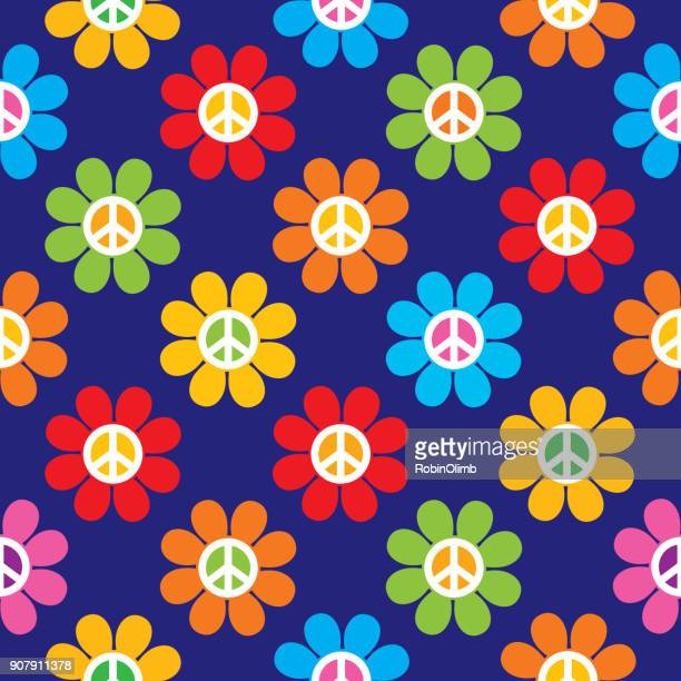 peace sign flowers seamless pattern - peace sign stock illustrations, clip art, cartoons, & icons