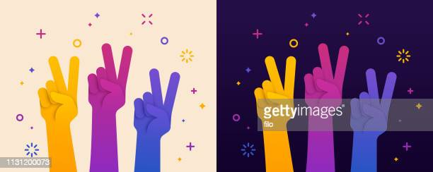 peace sign hand raised - attending stock illustrations