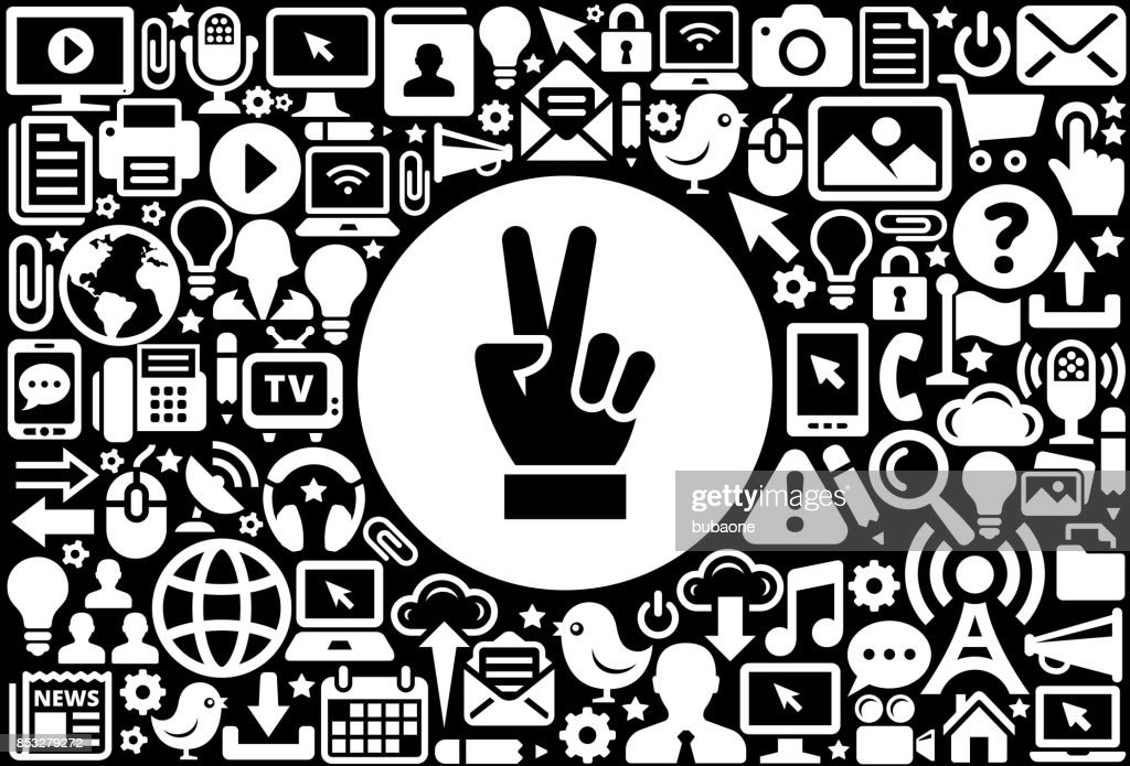 Peace Sign Icon Black And White Internet Technology Background