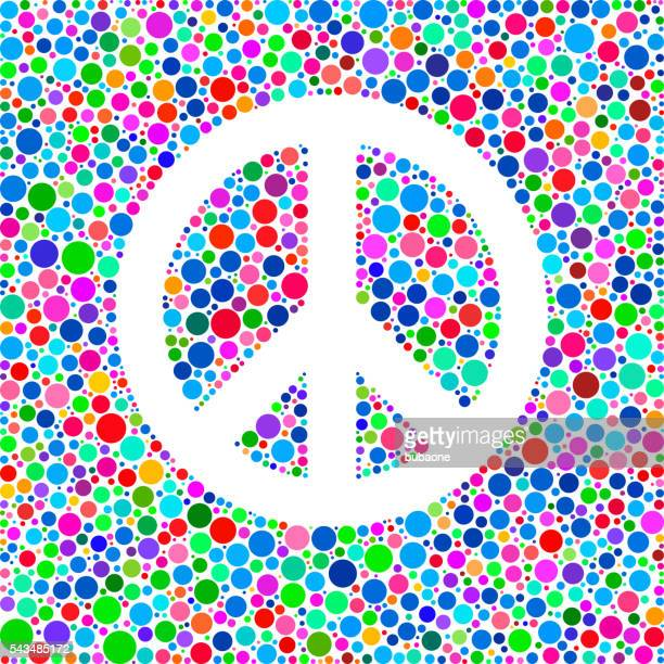 Peace Sign Icon on Color Circle Background Pattern