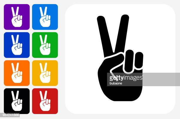 peace sign icon square button set - peace sign stock illustrations, clip art, cartoons, & icons