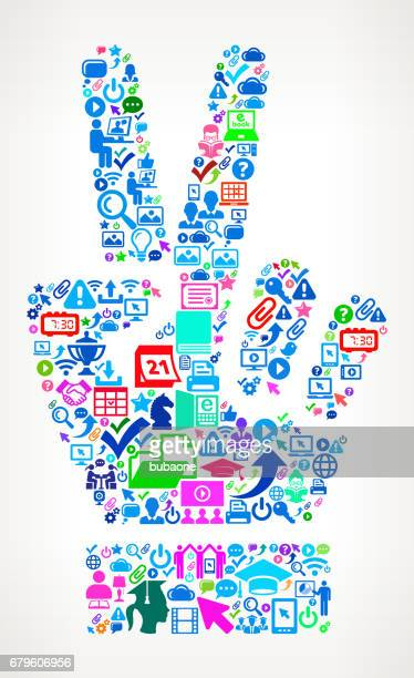 Peace Sign  Modern Education and College Degree Icon Pattern