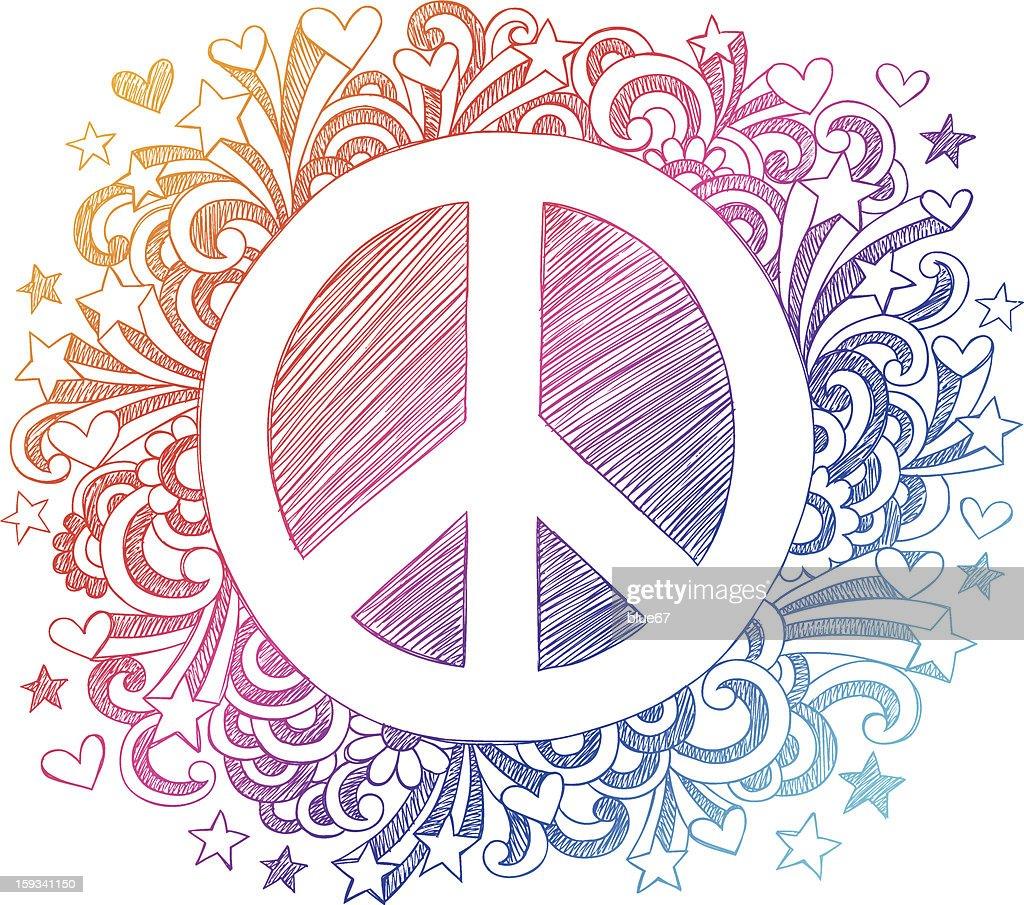 Peace Sign Sketchy Doodles Vector Design Elements