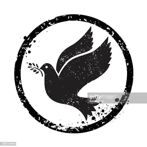 illustrations, cliparts, dessins animés et icônes de timbre de la paix - colombe