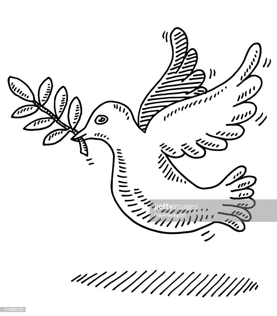 Peace Symbol Dove Branch Drawing Vector Art Getty Images