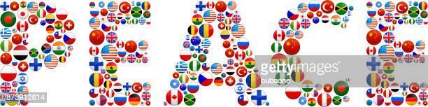 world peace fahnen vector buttons. - piktogramm collage stock-grafiken, -clipart, -cartoons und -symbole