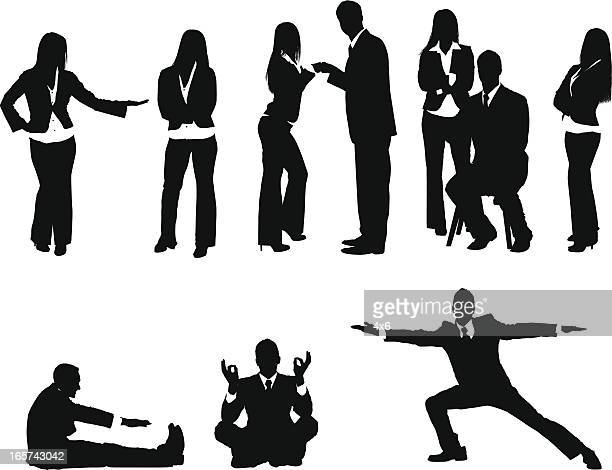 peaceful business people - touching toes stock illustrations, clip art, cartoons, & icons