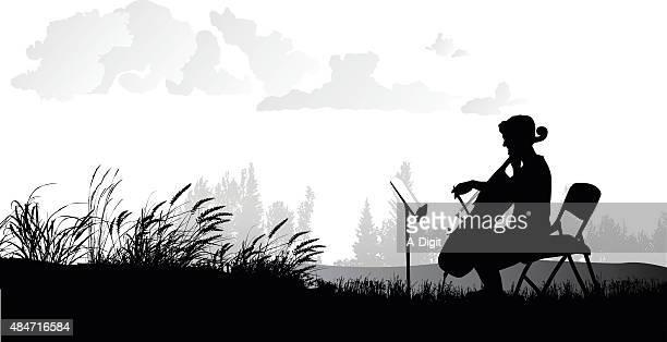illustrations, cliparts, dessins animés et icônes de paisible violoncelle entraînement extérieure - pupitre à musique