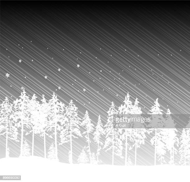 Peaceful Winter Treeline Grayscale
