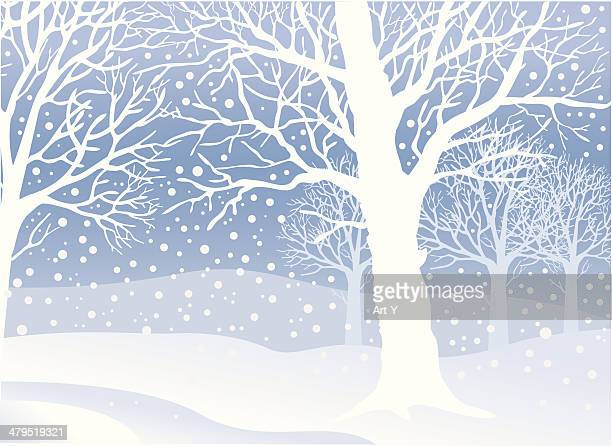 peaceful winters day - blizzard stock illustrations