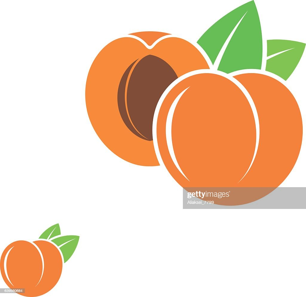 Peach Abstract Fruit On White Background Stock Illustration
