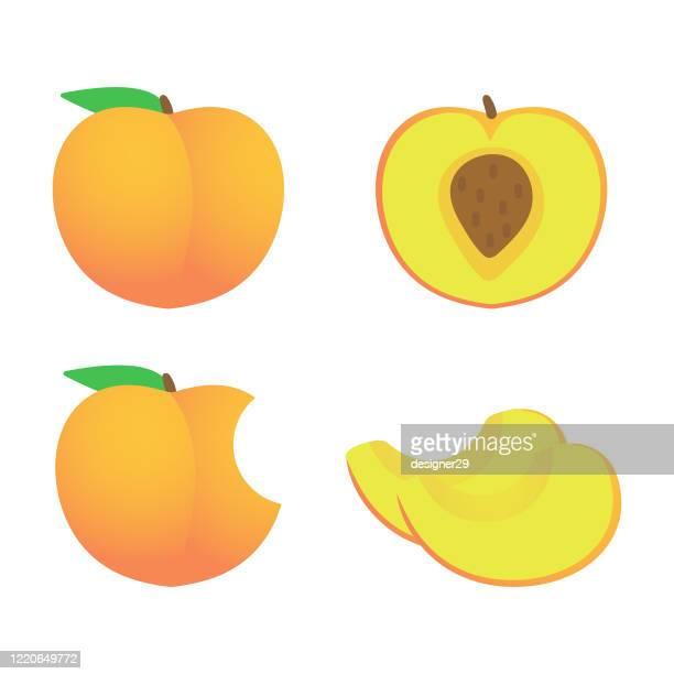 pfirsich und ganze und scheibe icon set vektor-design. - knackiger po stock-grafiken, -clipart, -cartoons und -symbole