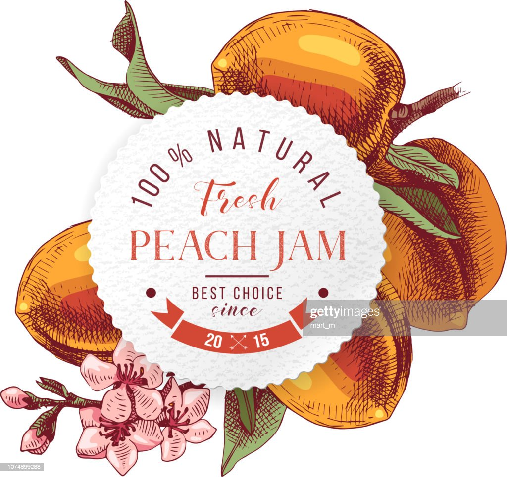 Peach jam paper emblem over hand drawn peach branche