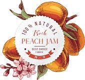 Peach jam paper emblem over hand drawn peach branche
