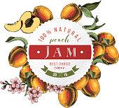Peach jam paper emblem over hand drawn peach branches