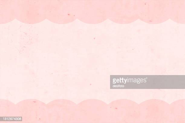 桃または淡いパステルピンク色の汚れたグランジ古い壁テクスチャ空白の空のベクトルの背景は、上下にカーリーラインの境界線を持つ - 女らしさ点のイラスト素材/クリップアート素材/マンガ素材/アイコン素材