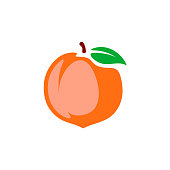 Peach vector illustration. Color cartoon style isolated on a whi