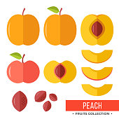 Peach. Whole peach and parts, slices, pits, leaves, core. Set of fruits. Flat design graphic elements. Vector illustration