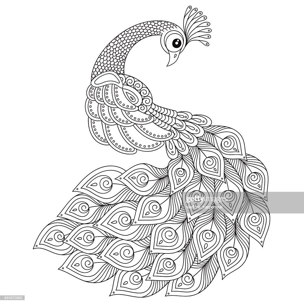 Peacock. Adult antistress coloring page.