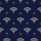 Peacock fan seamless blue vector pattern