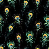 Peacock feathers black seamless vector print
