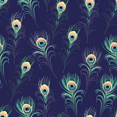 Peacock feathers navy seamless vector print