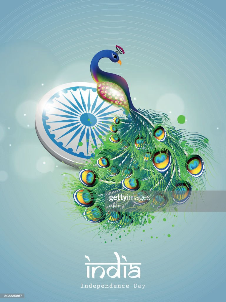 Peacock on Indian Independence Day greeting card