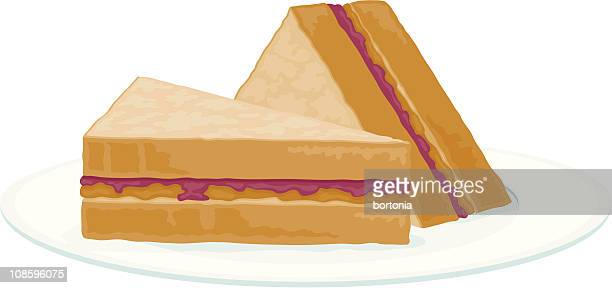 peanut butter and jelly sandwich - peanut butter and jelly sandwich stock illustrations
