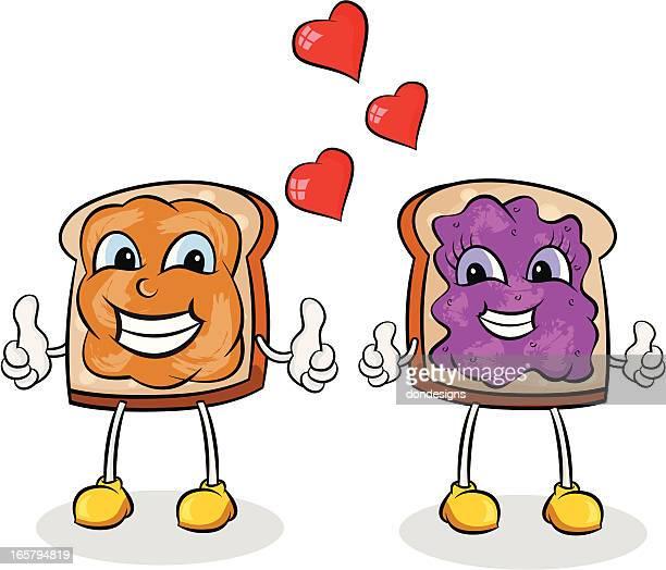 peanut butter and jelly - peanut butter and jelly sandwich stock illustrations