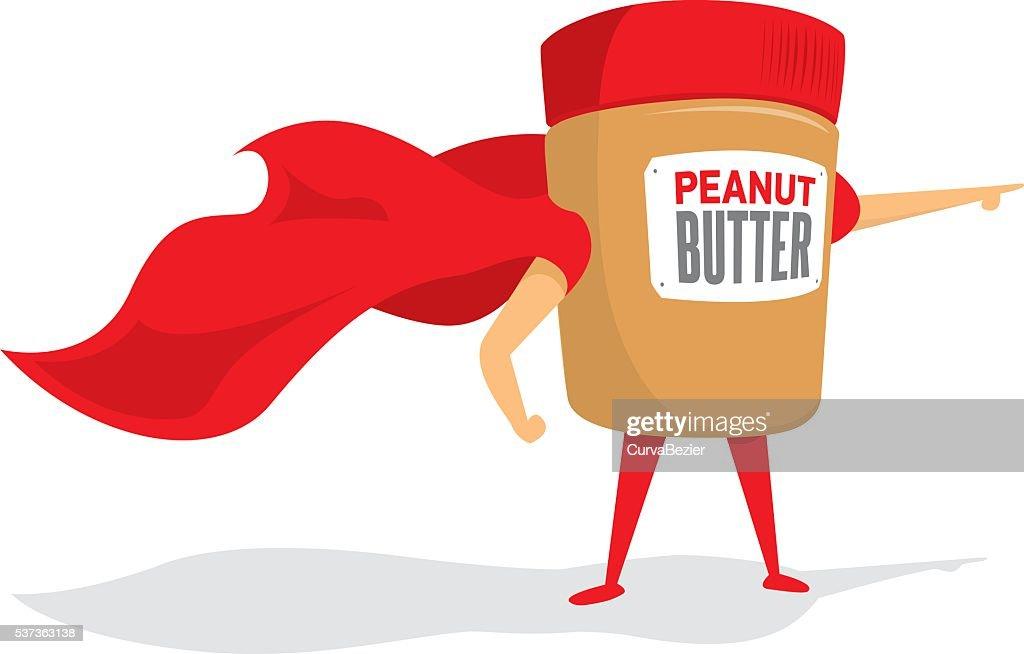 Peanut butter jar super hero with cape