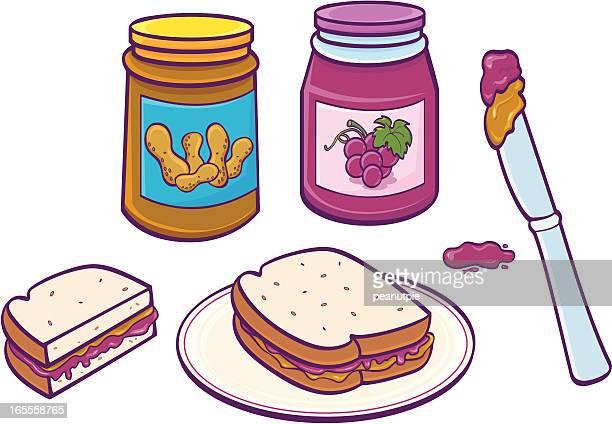peanut butter & jelly sandwich - peanut butter and jelly sandwich stock illustrations