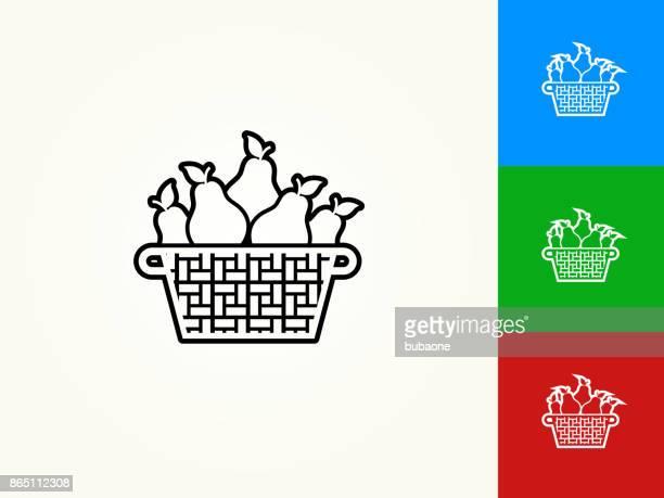 pear basket black stroke linear icon - basket stock illustrations, clip art, cartoons, & icons
